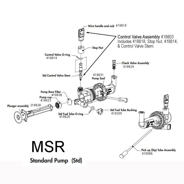MSR Duraseal Standard Fuel Pump diagram