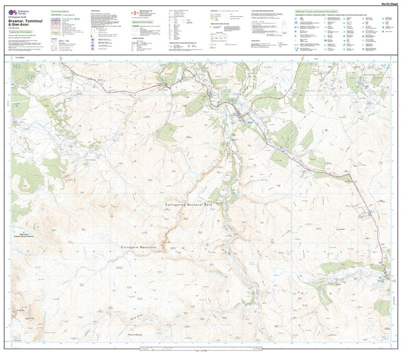 OS OL/Explorer 58 Paper - Braemar, Tomintoul & Glen Avon north sheet