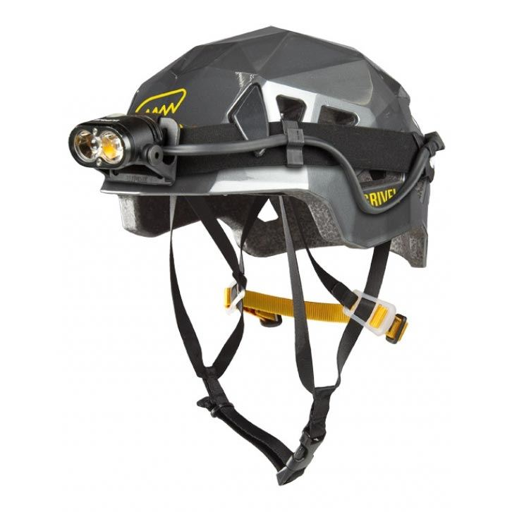 Grivel Stealth Helmet Titanium showing headtorch fitting