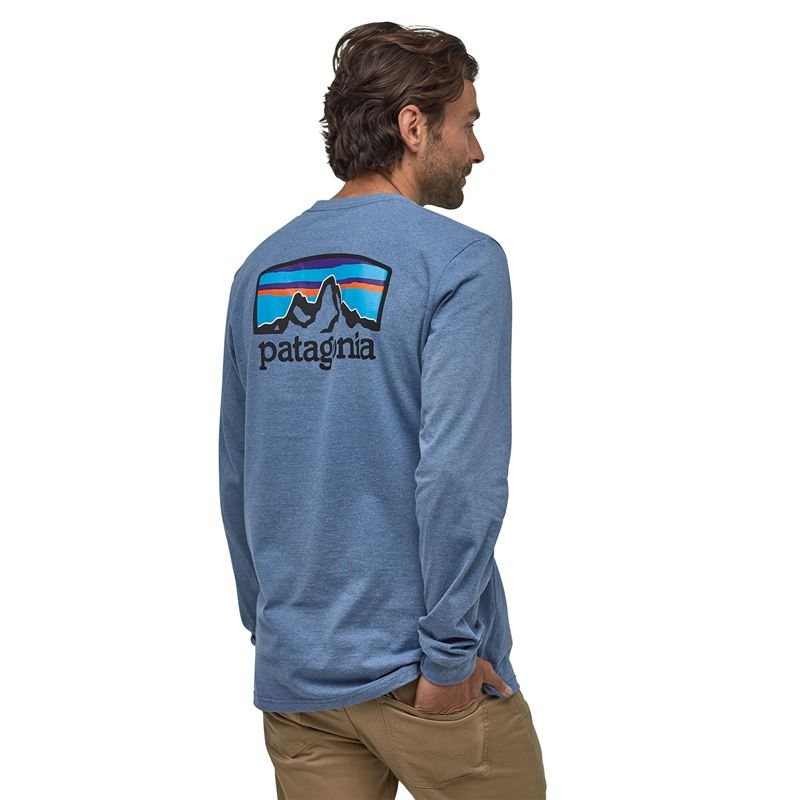 Patagonia Men's Long-Sleeved Fitz Roy Horizons Responsibili-Tee Woolly Blue