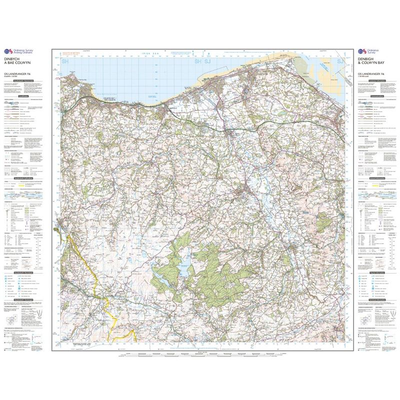 OS Landranger 116 Paper - Denbigh and Colwyn Bay sheet