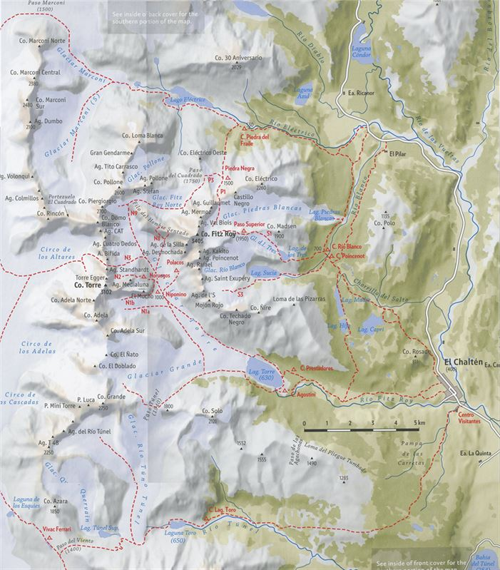 Patagonia Vertical: Chaltén Massif map