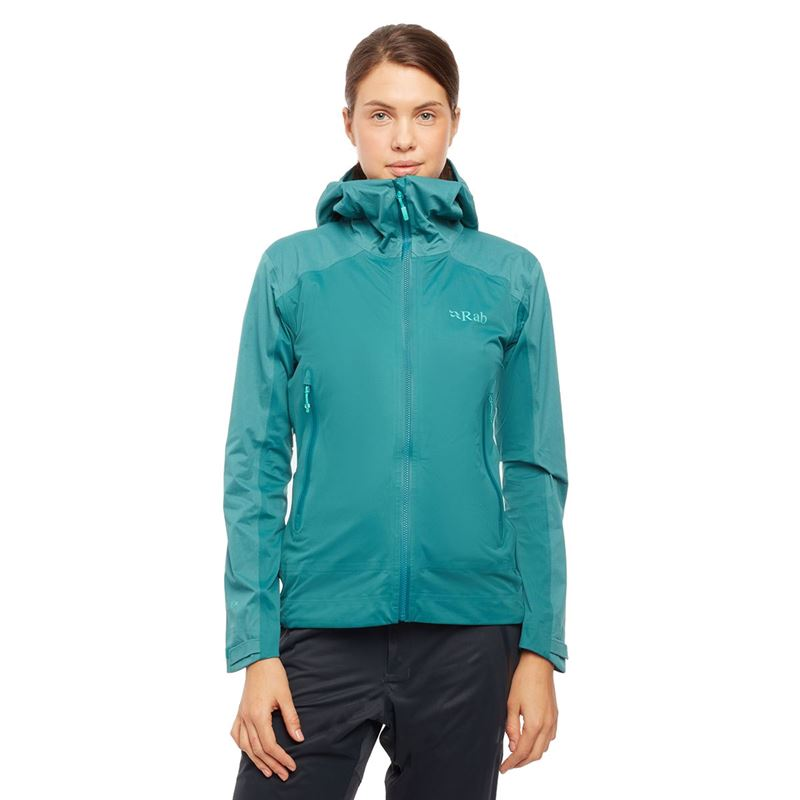 Rab Women's Kinetic Alpine Jacket Atlantis in use