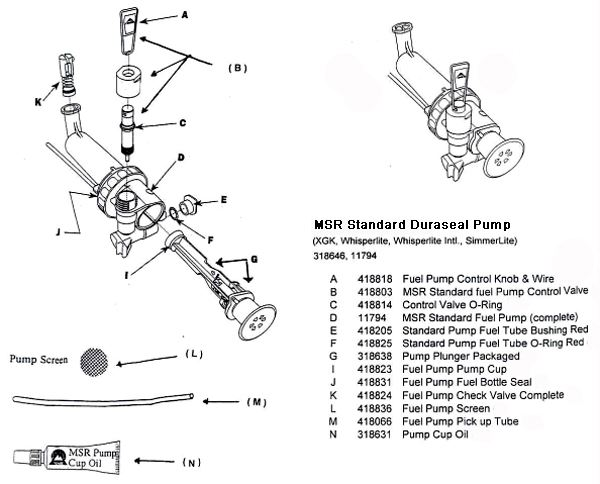 MSR Duraseal Standard Pump diagram