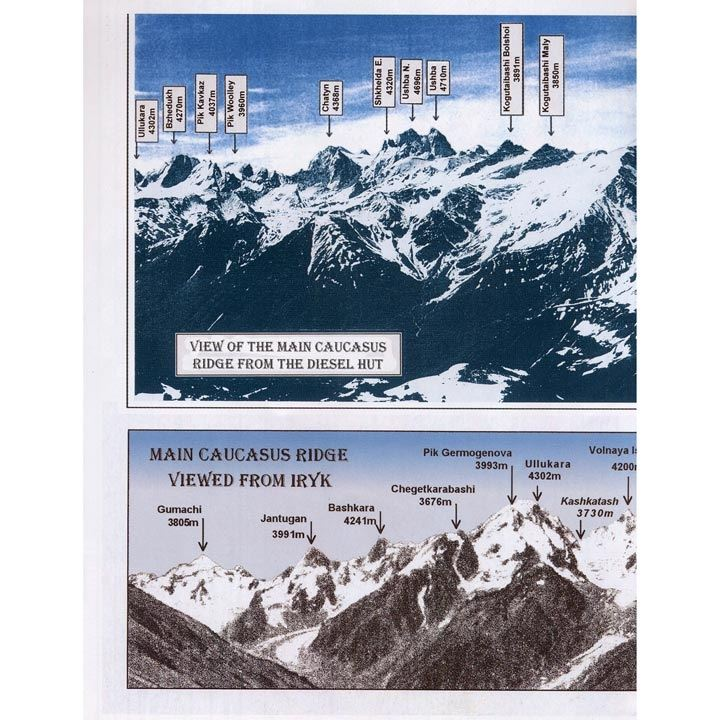 West Col Map & Guide - Elbrus - Upper Baksan Valley detail