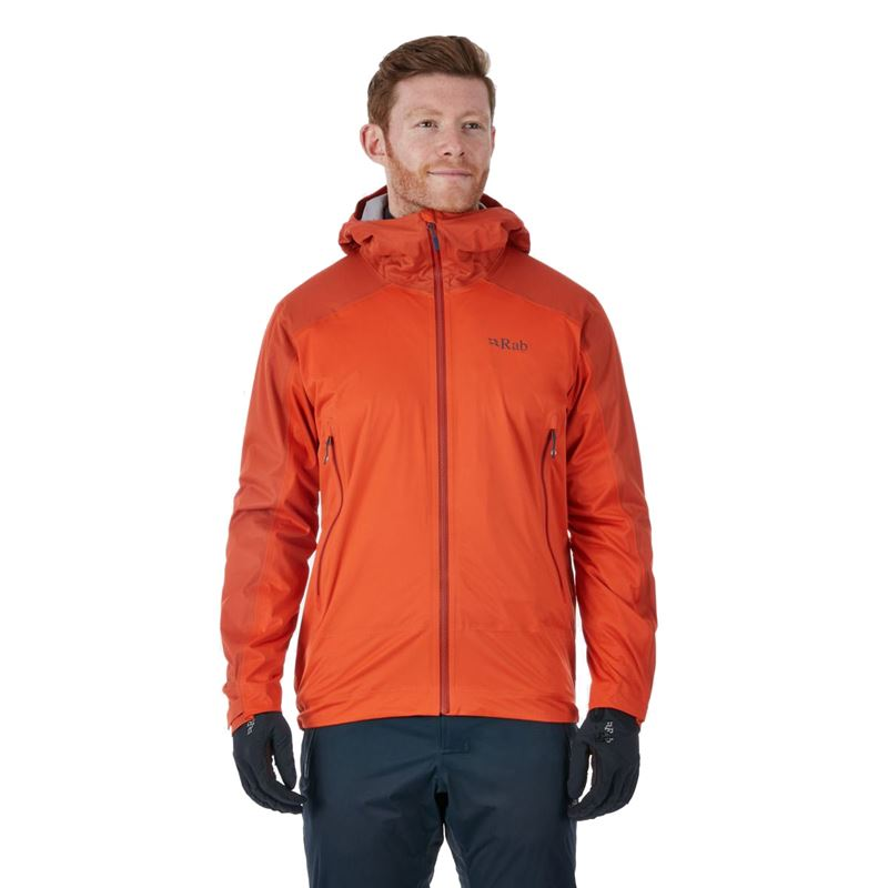 Rab Men's Kinetic Alpine Jacket Firecracker in use
