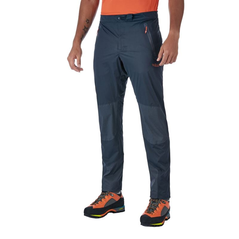 Rab Men's Kinetic Alpine Pants Beluga in use