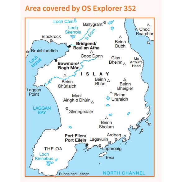 OS Explorer 352 Paper - Islay South coverage