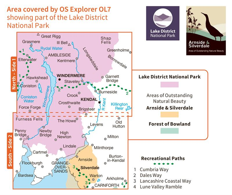 OS OL/Explorer 7 The English Lakes South-Eastern Area coverage