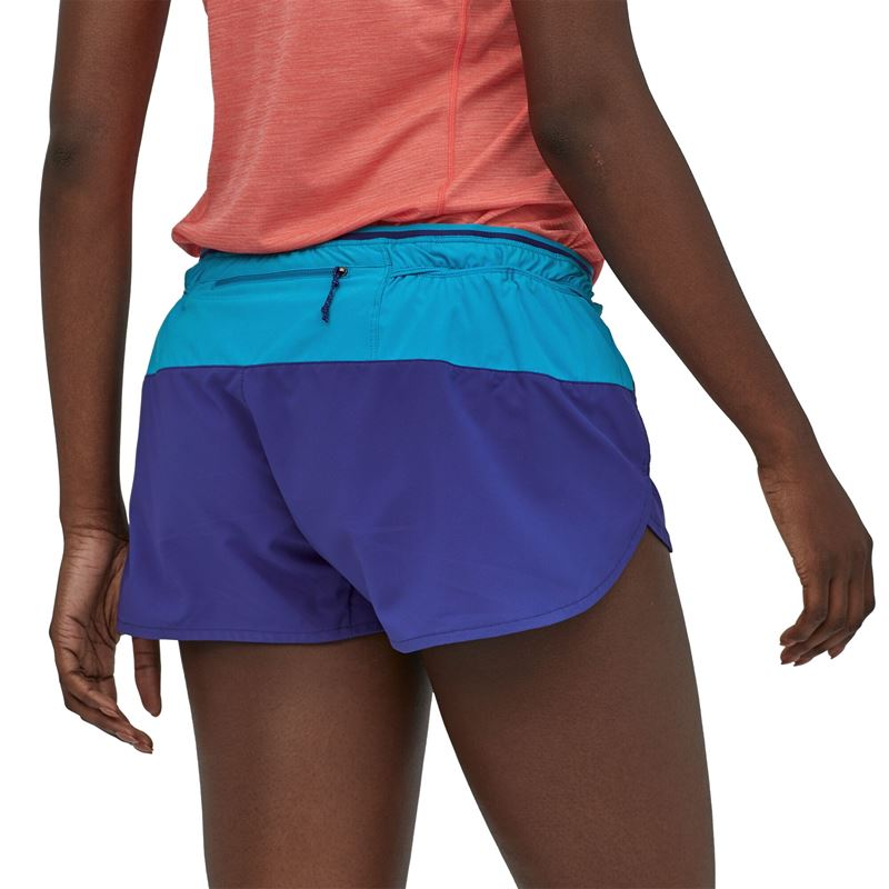 "Patagonia Women's Strider Pro Running Shorts 3"" Cobalt Blue in use"