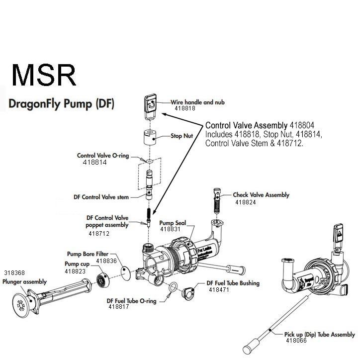 MSR Duraseal DragonFly Fuel Pump diagram