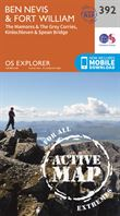 OS Explorer 392 Active Map Ben Nevis & Fort William 1:25,000 coverage