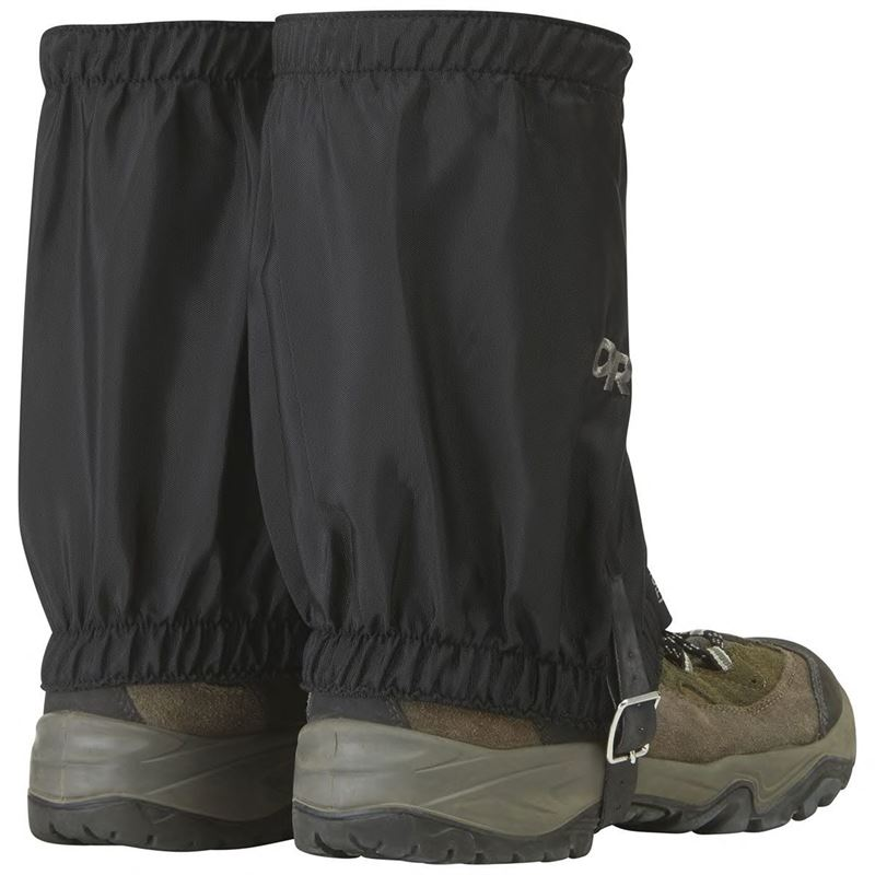 Outdoor Research Rocky Mountain Low Gaiters fitted on boots