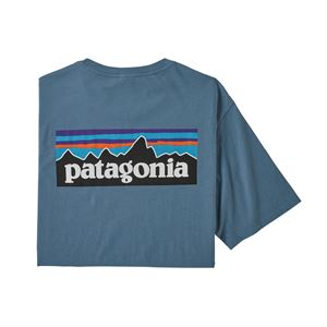 Patagonia Men's P-6 Logo Organic Cotton Crew T-Shirt Pigeon Blue