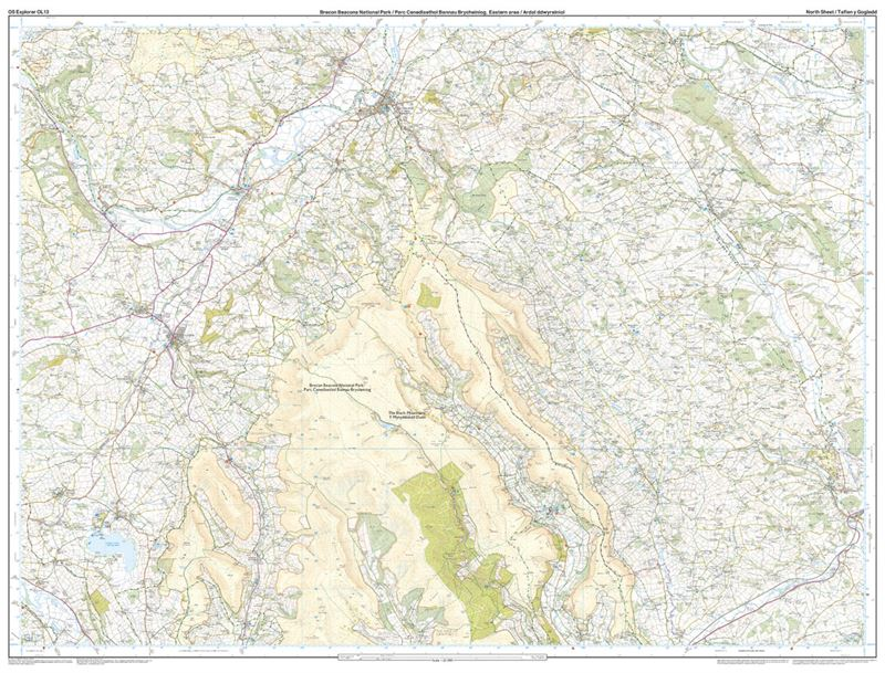 OS OL/Explorer 13 Paper - Brecon Beacons Eastern Area north sheet