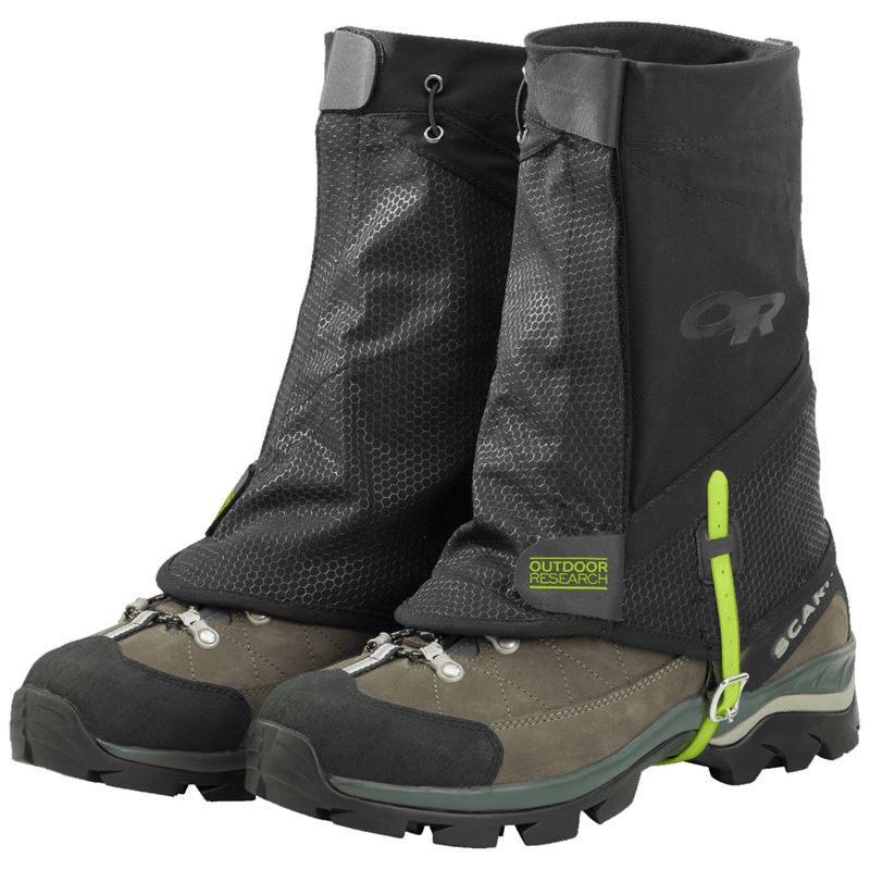 Outdoor Research Flex-Tex 2 Gaiters fitted on boots