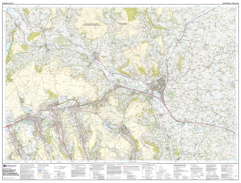 OS OL/Explorer 13 Paper - Brecon Beacons Eastern Area south sheet