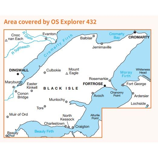OS Explorer 432 Paper - Black Isle 1:25,000 coverage