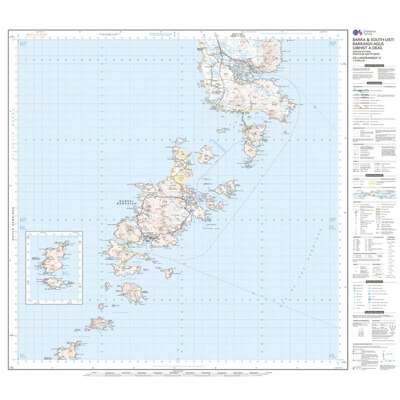 OS Landranger 31 Paper - Barra & South Uist sheet