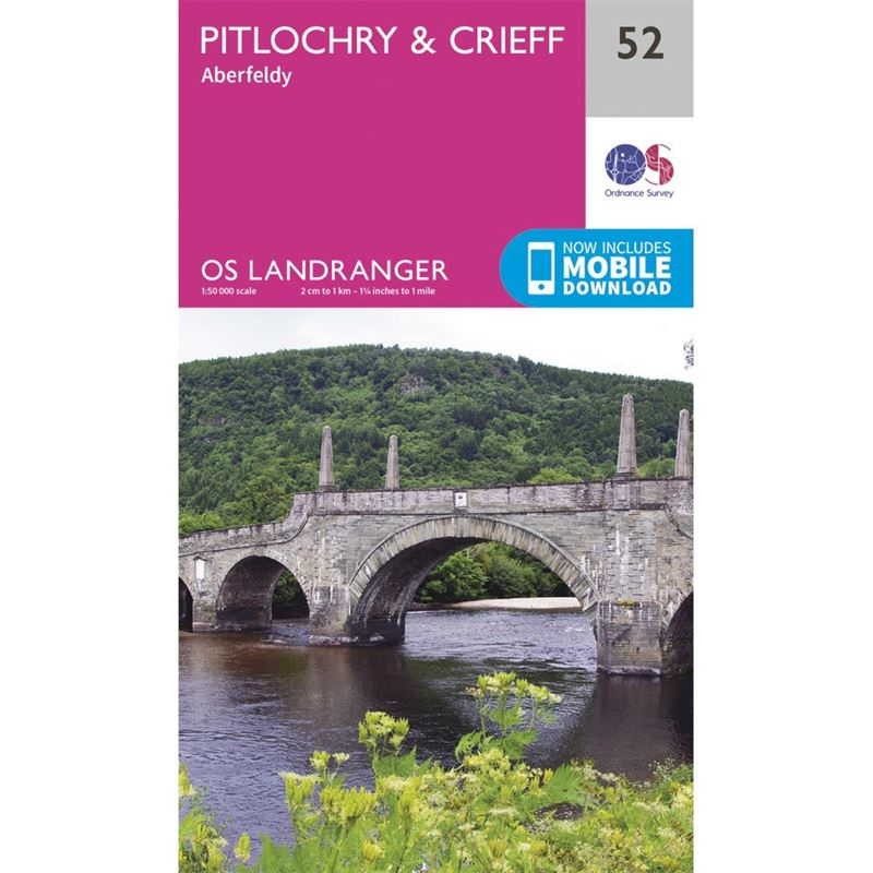 OS Landranger 52 Paper - Pitlochry & Crieff