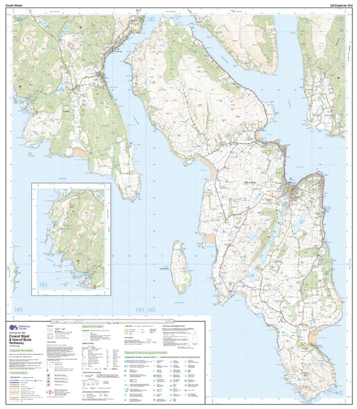 OS Explorer 362 Paper - Cowal West & Isle of Bute south sheet