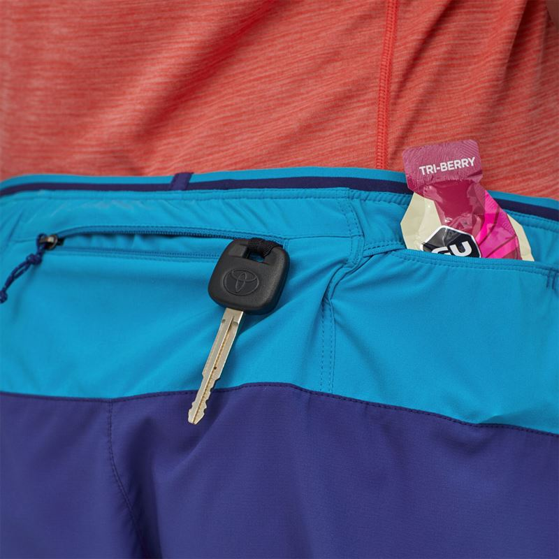 "Patagonia Women's Strider Pro Running Shorts 3"" Cobalt Blue storage pockets"
